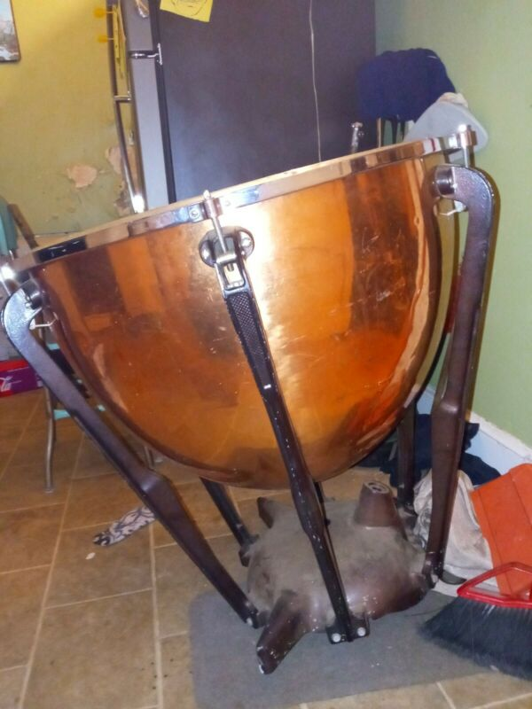 "Beautiful used 27"" hammered copper Timpani drum"