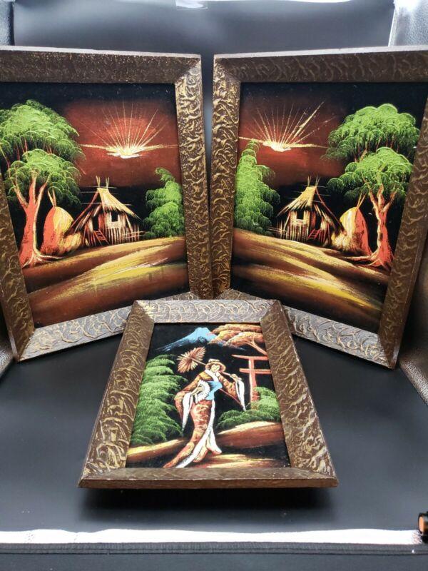 3 Vintage MCM Black Velvet Asian painting Great Condition Wood Frame