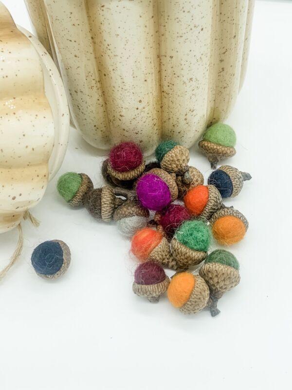 "18 Small Handmade Needle Felted Wool Acorn Fall ""Autumn Splendor"" Thanksgiving"