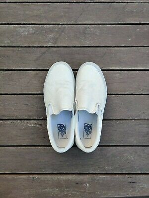 Vans Classic Slip-On Trainer in White Faux Leather