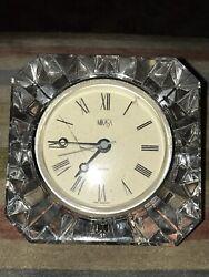 Vintage Mikasa Crystal Cut Glass Quartz Table/Mantle Clock.