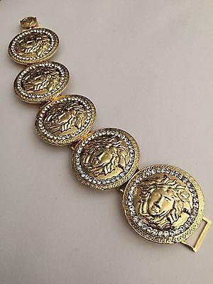 Rare Vintage Gianni Versace Gold Crystal Medusa Bracelet