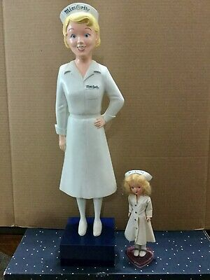 "Vintage 1950s MISS CURITY ADVERTISING FIGURE NURSE Display + 8"" CURITY DOLL"