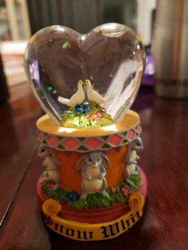 Disney s Snow White Mini Heart Shaped Glitter White Dove s Rabbit s Snowglobe. - $8.99