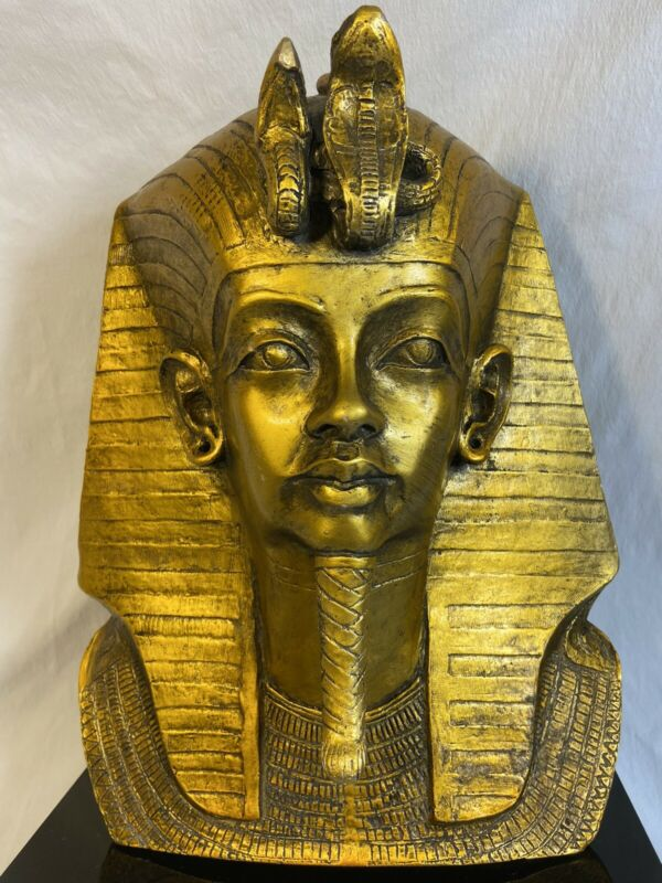 "Vtg 1977 Austin Prod Productions King Tut Statue Sculpture Egyptian Bust 15""Tall"