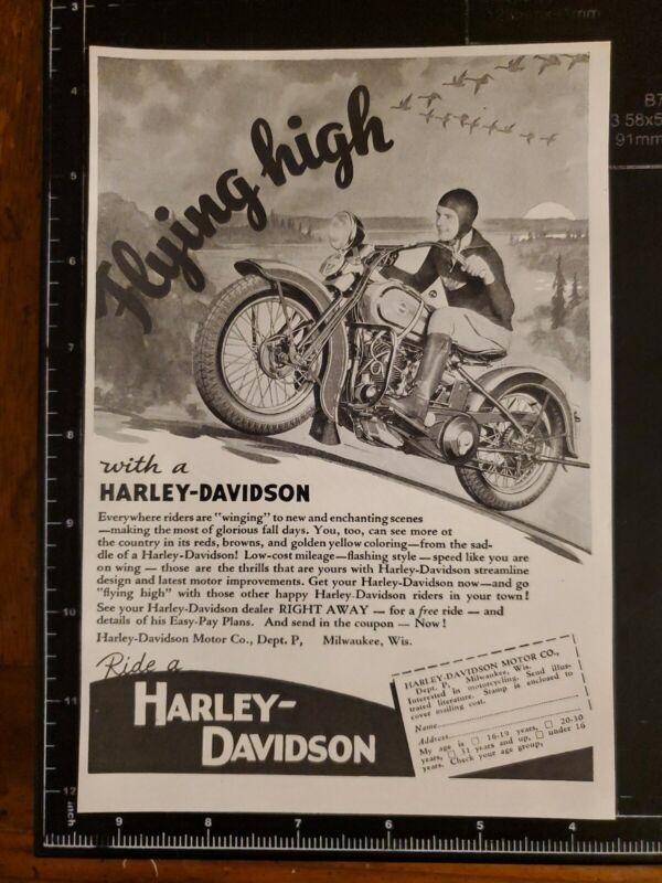 1930s Harley Davidson Motorcycle Vintage Original Print Ad