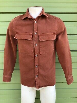 NWT ZARA MEN Orange  brick  Overshirt Denim with pockets Small S 7446/355 1401
