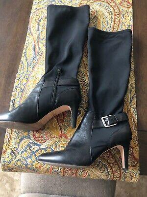Antonio Melani Black Leather Boots  Size 10 Knee High ()