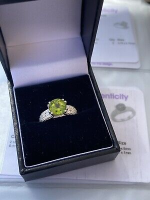 Changbai Peridot & White Topaz Sterling Silver Ring Size J