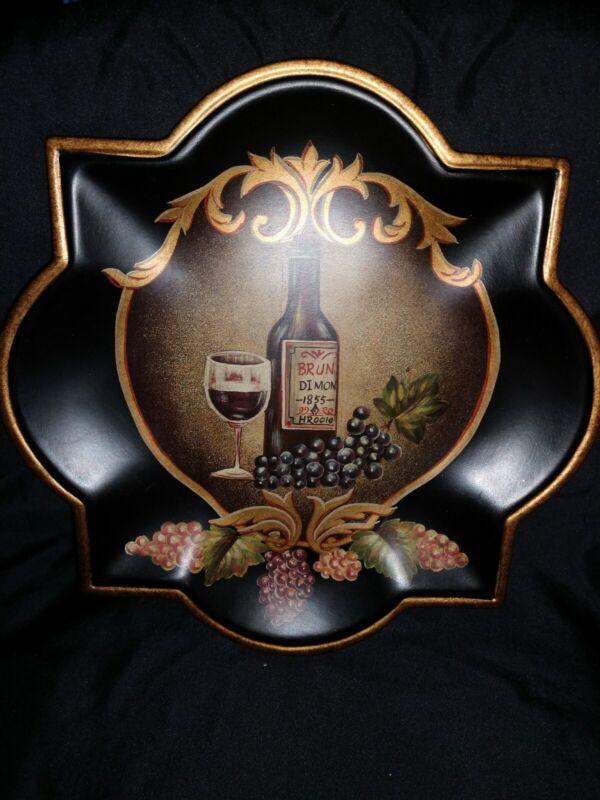 "Plate Roses & Wine Bottles Grape Vine Italy BLACK GOLD 10"" Decoration Wall Art"
