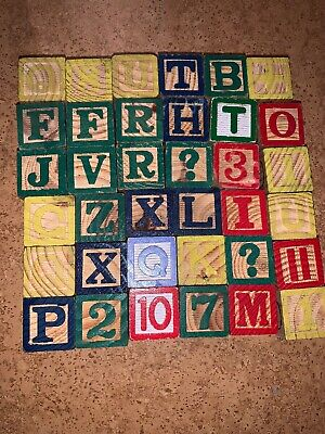36 Wooden Numbers Alphabet Blocks Letter Wood Baby Learning Vintage ABC Kids