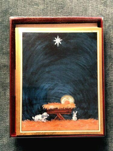 Caspari Christmas Cards BOX 16 SMALL Baby Jesus Manger Nativity Religious Foil