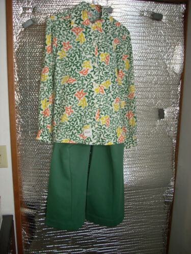 Girl Scout 1975-81 Adult Leader Uniform Knit Blouse and Pants - small