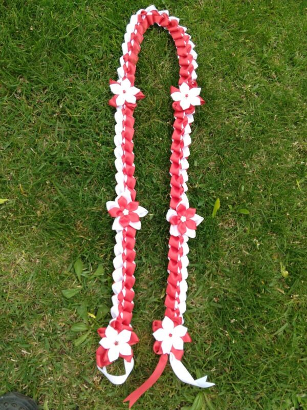 Graduation lei, handmade with 2 color of satin ribbons in red and white