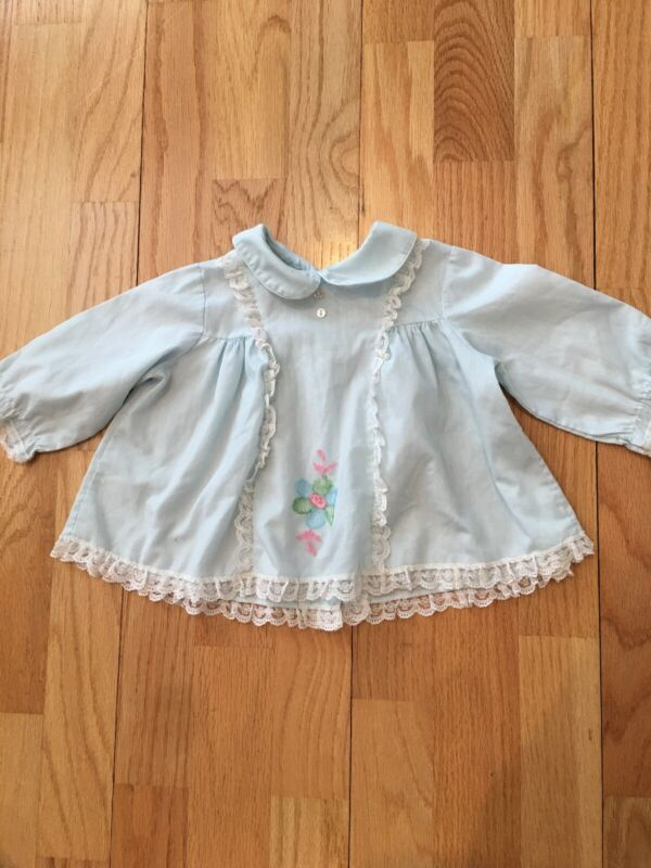 Vtg 60s Fawn Togs Baby 12m - 18m Light Blue Lace Ls Floral Embroider Dress Baby