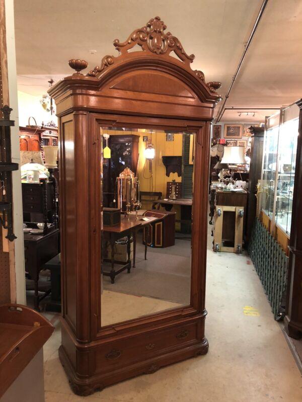 "Antique American Walnut Victorian Beveled Mirror Door Wardrobe 99"" X 46"" X 19"""