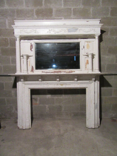 """~ HUGE ORNATE ANTIQUE FIREPLACE MANTEL ~ 50"""" OPENING OVERALL 80 X 96 ~ SALVAGE"""