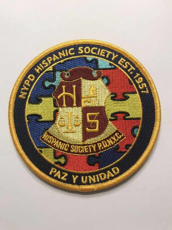NYPD Hispanic Society Autism Awareness Patch Hook N Loop