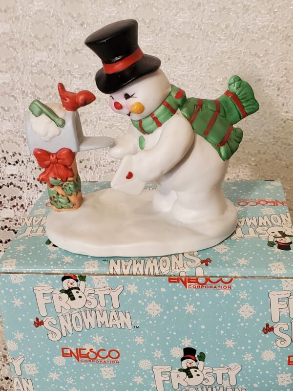 Vintage Enesco Frosty The Snowman Mailing a Letter Christmas Figurine