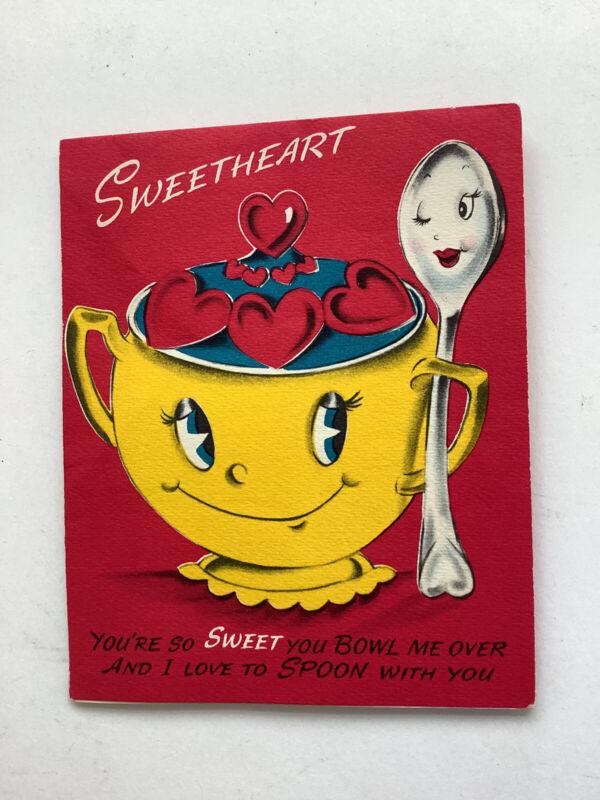 Vintage 50s Valentine Card Sugar Bowl Spoon Anthropomorphic Foldout Pop Up Soda
