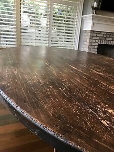 RUSTIC 7.5x4.5ft WOOD DINING TABLE WITH WROUGHT IRON BASE