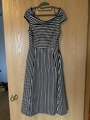Banana Republic Ponte Knit Striped Dress Black & White Off Shoulder Fit Flare 8