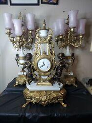 Stunning Vintage Franz Hermle Brass Bronze Mantel Clock Candelabra Set Italy