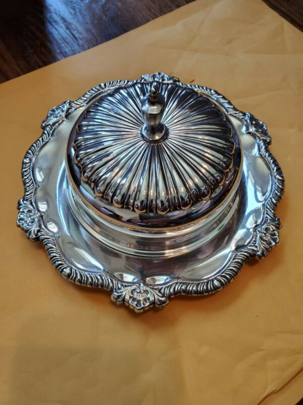 Vintage, Wallace Avalon 1800,  Silver Plated, 10 Inch Candy Dish. Fresh Polished