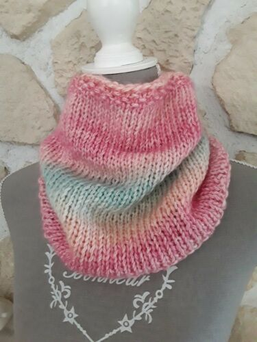 Écharpe bonnet snood 2 en 1 rose