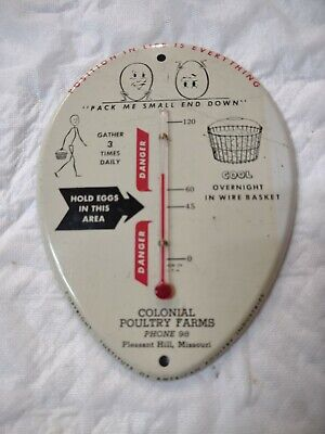 Vintage Metal Advertising Thermometer Colonial Poultry Farms Pleasant Hill, MO