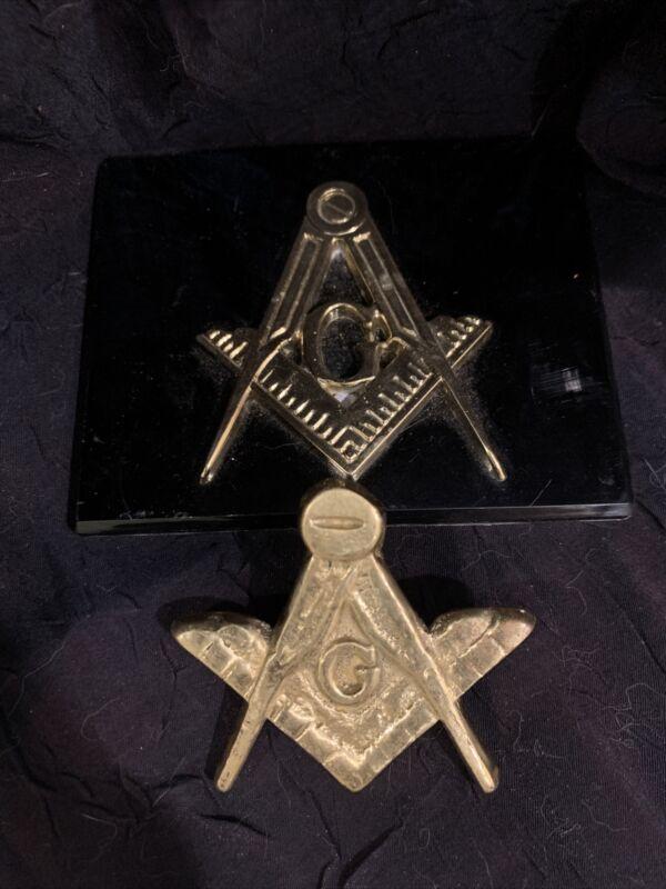 2 Vintage Brass Masonic Emblems