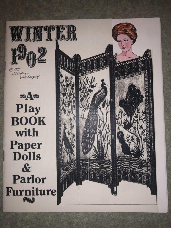 Rare Sandra Vanderpool Winter 1902 Playbook With Paper Dolls & Parlor Furniture