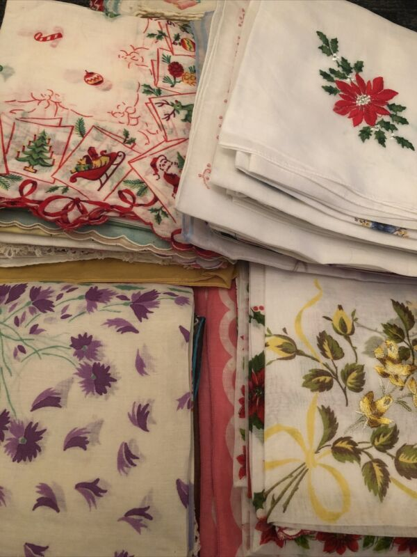 Lot Of 350 Vintage Ladies Handkerchiefs Prints Solids Hand Rolled And More
