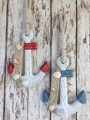 (2) Wooden Anchor Wall Hooks ~ Wood Nautical Boat Decor ~ Coat Hat Keys