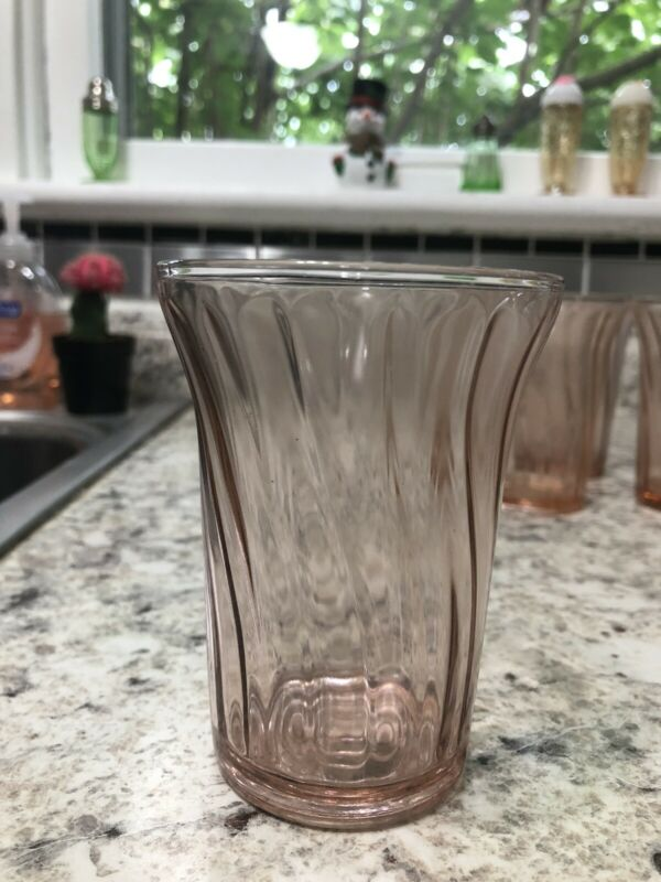 "Jeanette Glass Company Pink Petal Swirl Depression 4 1/4"" Tumbler (6 Available)"
