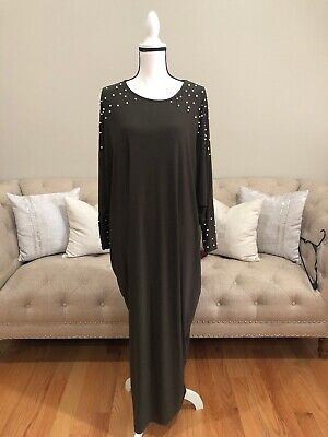Green Abaya With Pearls