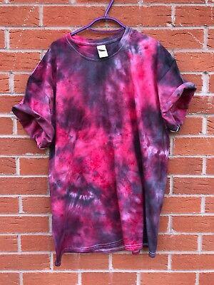 Black & Red TIE DYE T SHIRT Festival Top Hipster Tye Die Tshirt Mens Womens Kids Black Womens Tie