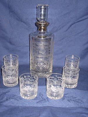 edle Whisky / Whiskey Karaffe - geschliffen mit HIrsch,.. + 6 Gläser TOP