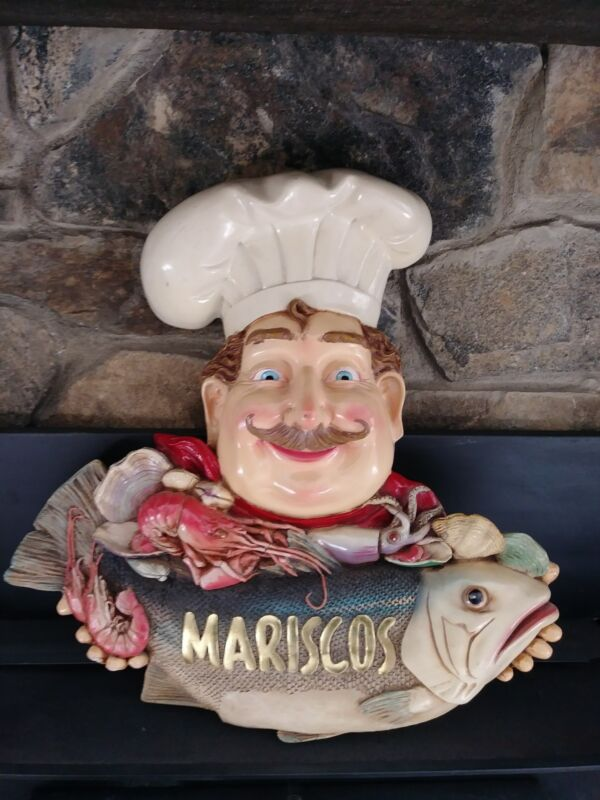 VINTAGE Seafood Restaurant Wall Decoration. CHEF with MARISCOS  that is Seafood.
