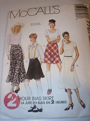 WOMENS UNCUT MCCALLS Sewing Pattern 7707 BIAS SKIRT FAST EASY SIZE D 12 14 16