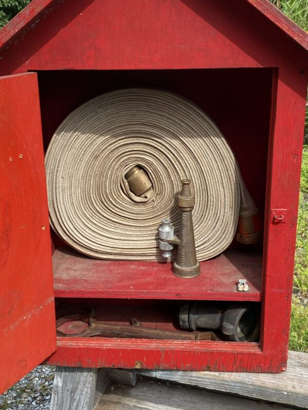 """C.1964 FIRE HOSE WOOD CABINET, U.S. Forestry Service, Outdoors, 8"""" Brass Nozzle"""