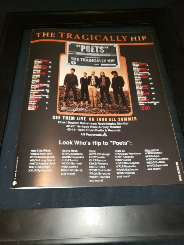 The Tragically Hip Poets Rare Original Radio Promo Poster Ad Framed!