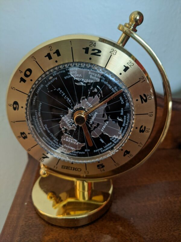 SEIKO Golden Globe Desk & Table Clock World Time Quartz Movement Cobalt Blue