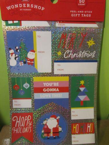 Wondershop assorted Christmas Self Sticking Gift Tag Labels  metallic  50 Total