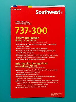 2016 SOUTHWEST AIRLINES SAFETY CARD--737-300/500 -NEWEST VERSION