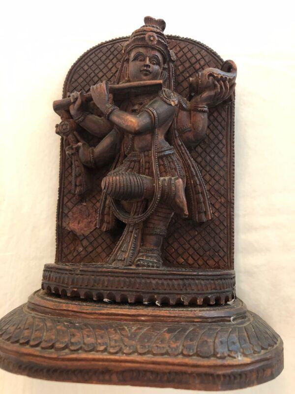 Antique WOOD Finely CARVED HINDU GOD FIGURINE PLAQUE VENUGOPAL KRISHNA VISHNU