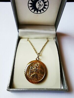 """9ct Gold St Christopher Pendant Georg Jensen with 26"""" 9ct Gold Chain 7.92grams!"""