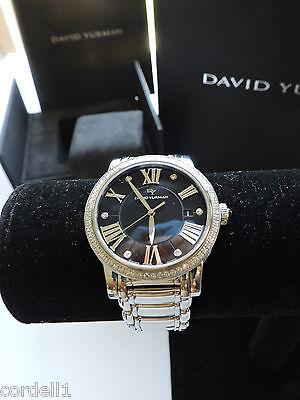david yurman classic 38mm quartz diamonds steel black mop face t71389qmstb nwt