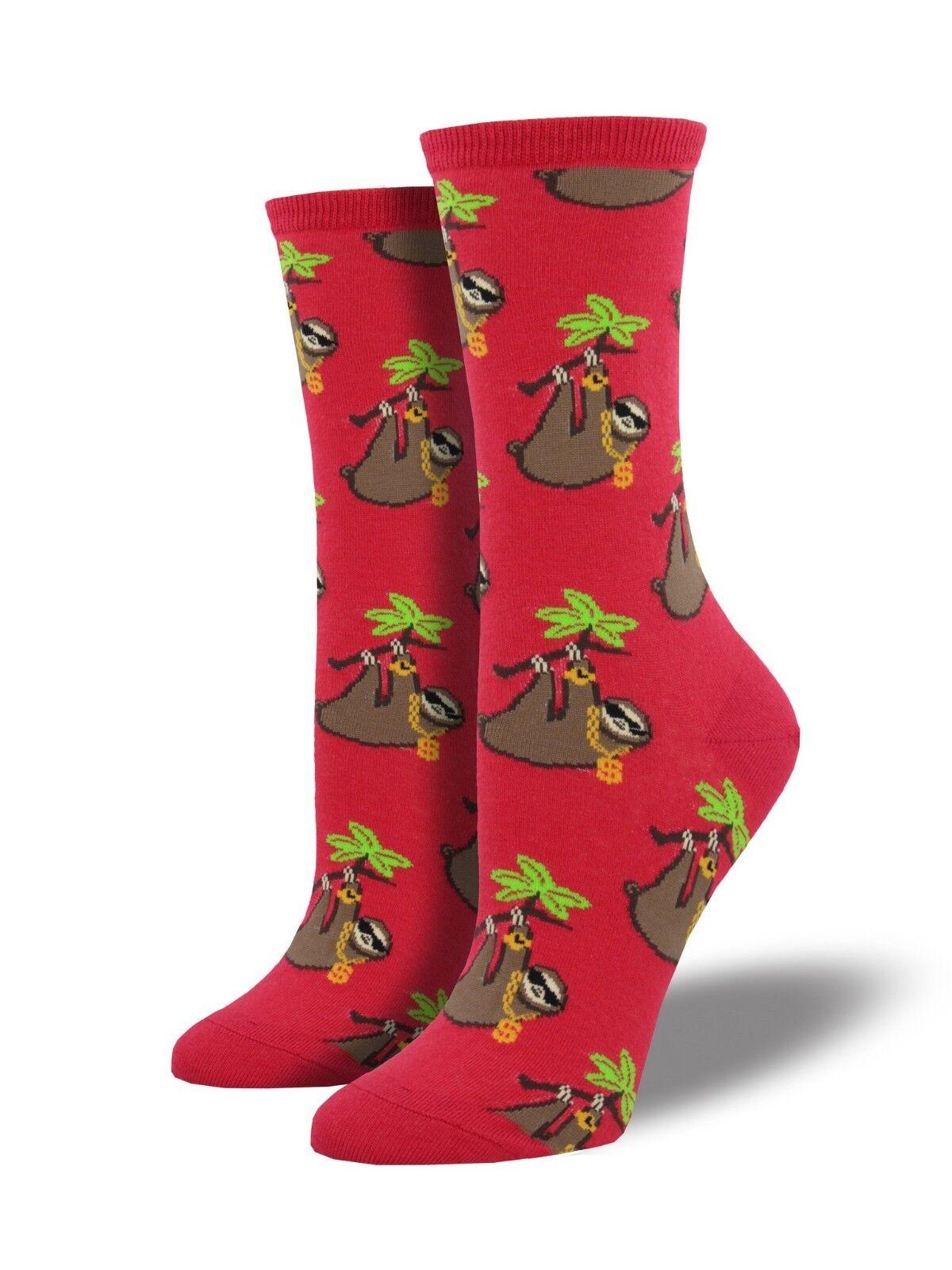 Socksmith Damen Neuheit Mannschafts Socken Faultier Bling Himbeer Rot Pink