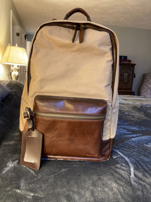 Fossil Backpack. Khaki/Leather Combination Brand New Without Tags